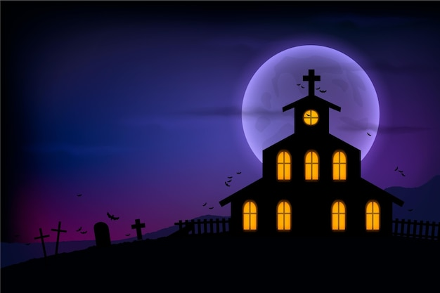 Fundo de halloween com design realista