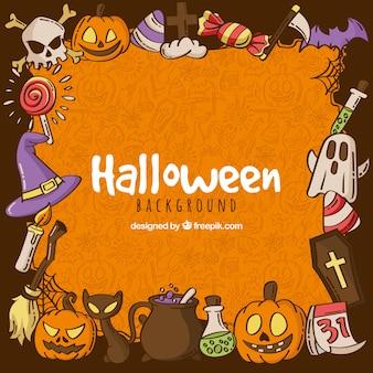 Fundo de halloween com elementos desenhados à mão