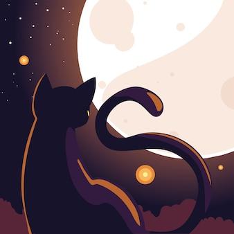 Fundo de halloween com gato na noite escura e lua cheia