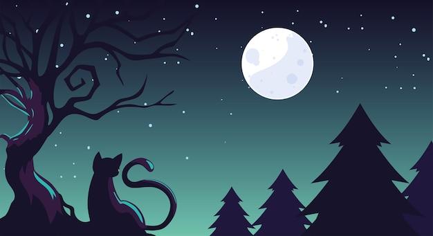 Fundo de halloween com gato no campo escuro
