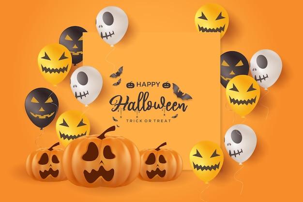 Fundo de halloween com ilustração de abóbora e crânio de balão