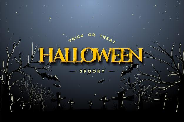 Fundo de halloween com ilustração de escrita 3d amarela.