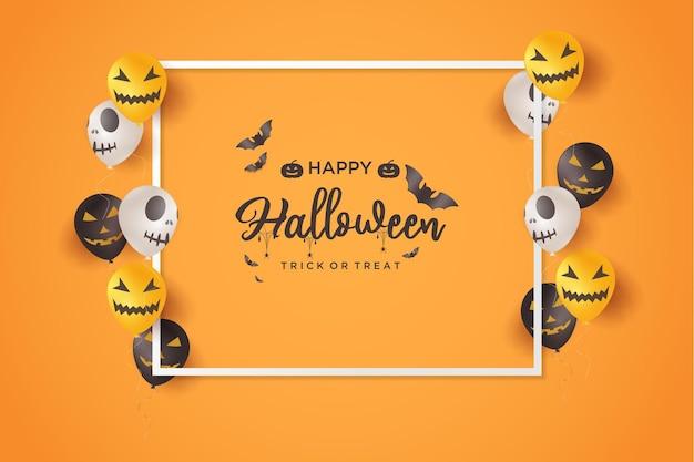 Fundo de halloween com ilustração de uma moldura cercada por crânios de balão
