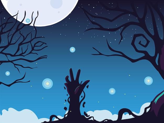 Fundo de halloween com mão de zumbi e lua cheia