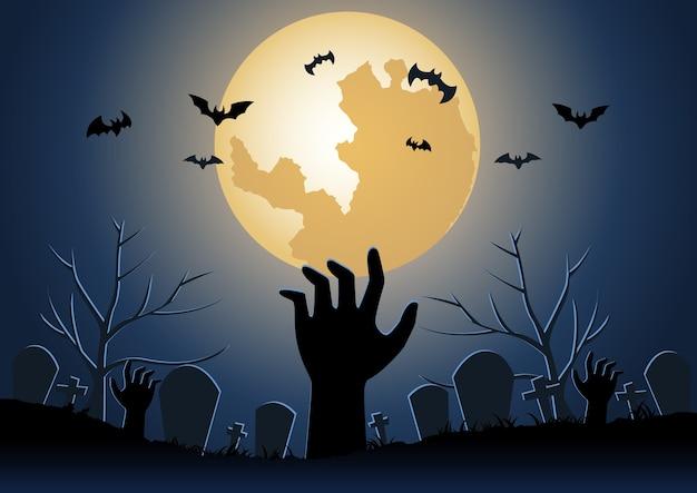 Fundo de halloween com mão de zumbi levantada do submundo