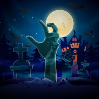 Fundo de halloween com mão de zumbi