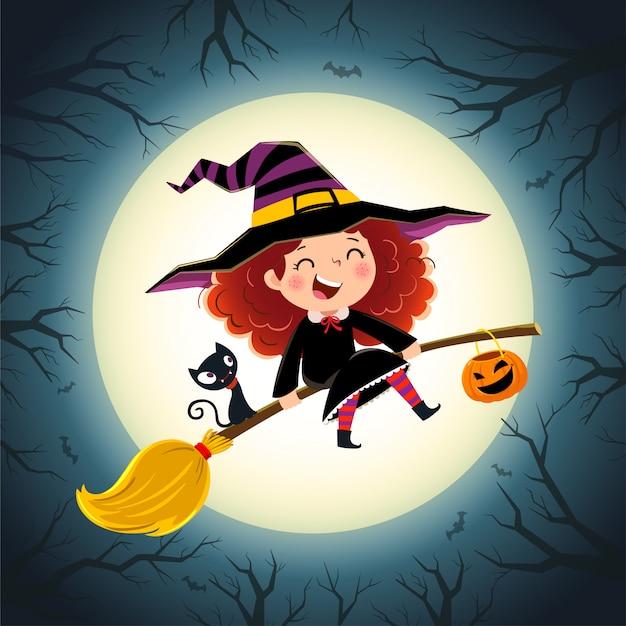 Fundo de halloween com menina bonitinha bruxa e gatinho voando em uma vassoura.