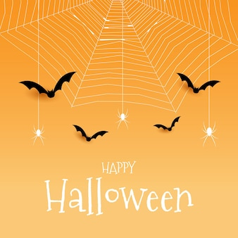 Fundo de halloween com morcegos-aranha e desenho de teia de aranha