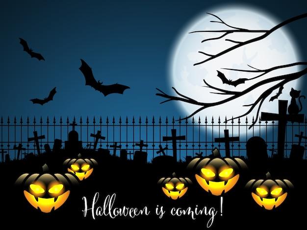 Fundo de halloween com o halloween está chegando! texto.