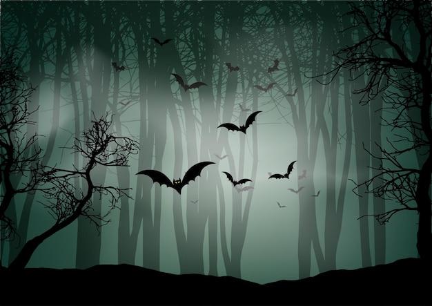 Fundo de halloween com paisagem nebulosa de floresta e morcegos
