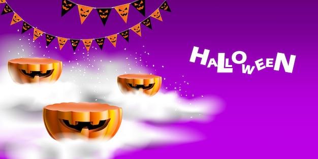 Fundo de halloween com pódio de exibição de produto, abóbora e fumaça mística