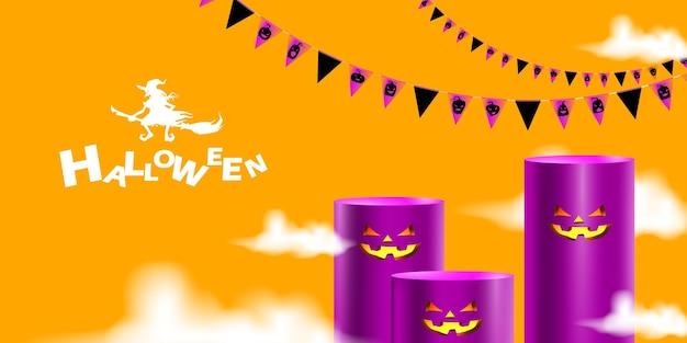 Fundo de halloween com pódio de exibição de produtos com bandeira festiva e fumaça mística