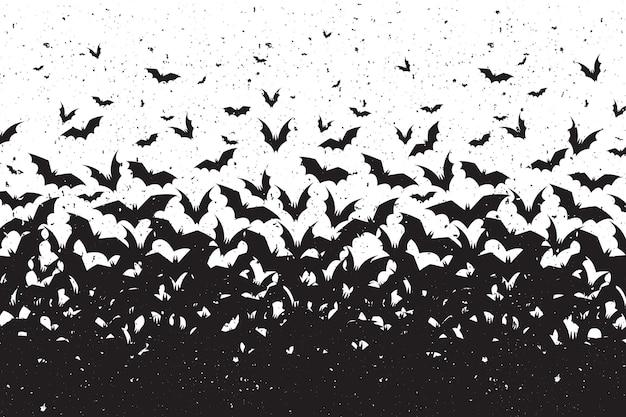 Fundo de halloween com silhuetas de morcegos