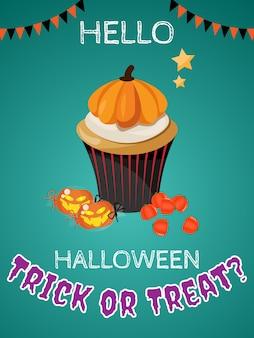 Fundo de halloween com trick or treat? texto.