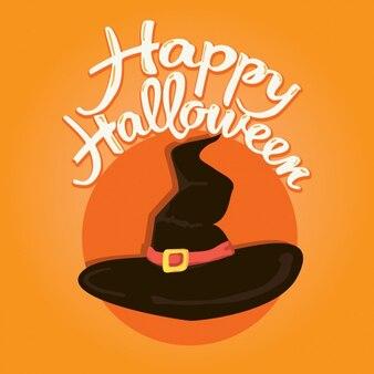 Fundo de halloween com um chapéu da bruxa