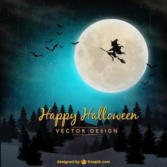 Fundo de halloween com vôo da bruxa