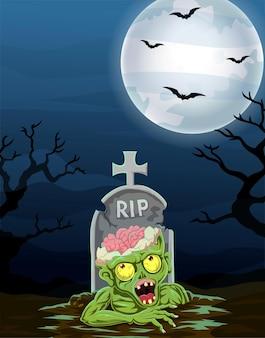 Fundo de halloween com zumbi saindo do túmulo