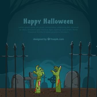 Fundo de halloween com zumbis