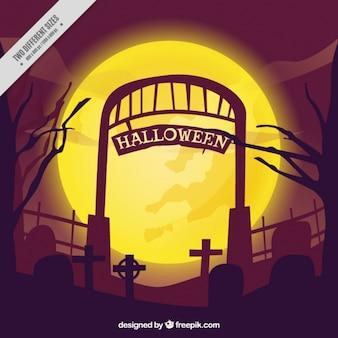 Fundo de halloween da entrada do cemitério