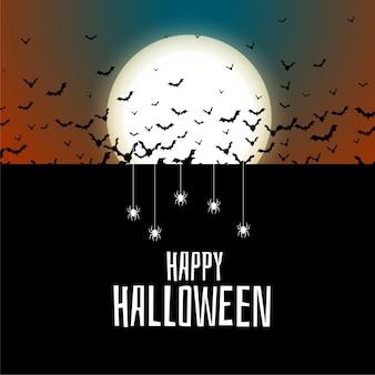 Fundo de halloween de morcegos e aranhas voadores