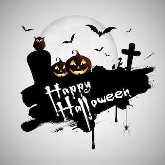 Fundo de halloween do grunge com sepulturas abóbora e aranha de suspensão