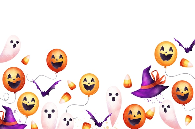 Fundo de halloween em aquarela