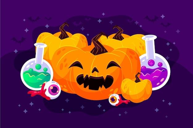 Fundo de halloween em design plano