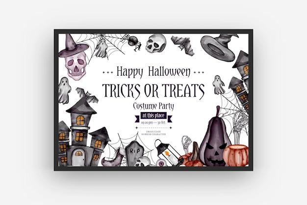 Fundo de halloween feliz com símbolos de terror caveira de ossos de abóbora fundo de halloween
