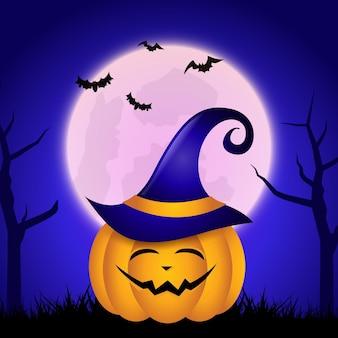 Fundo de halloween fofo jack o lantern contra o céu iluminado pela lua