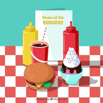 Fundo de hambúrguer com comida deliciosa em design plano