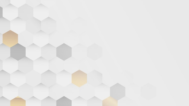 Fundo de hexágono branco e dourado