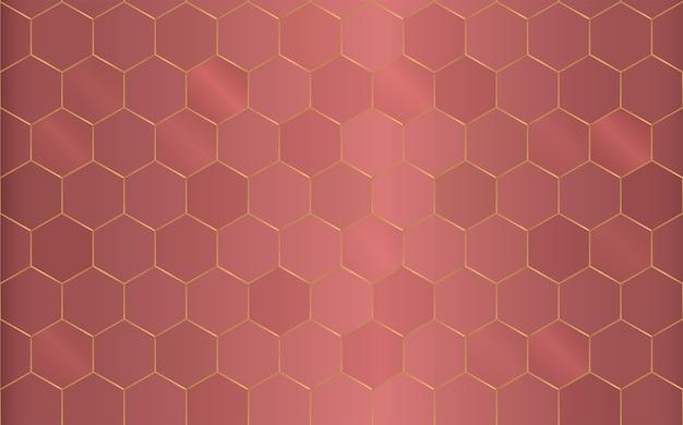 Fundo de hexágono de cobre de padrão geométrico.