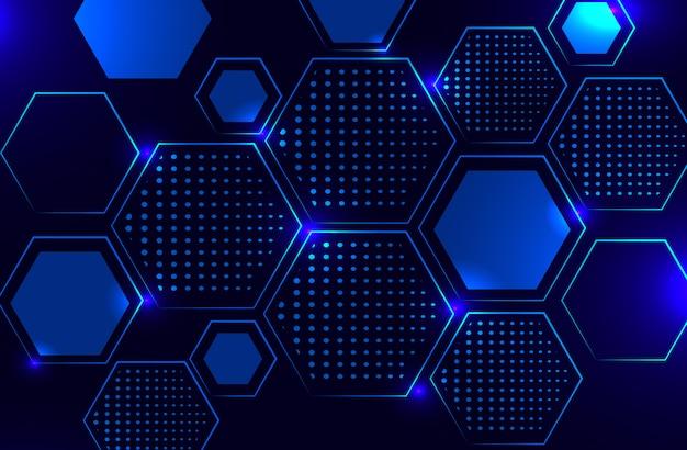 Fundo de hexágono de conceito poligonal de tecnologia