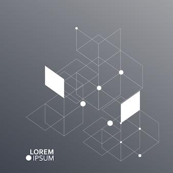 Fundo de hexágonos de vetor. conexão, genética, ciência, química e rede social