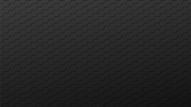 Fundo de hexágonos pretos de linhas de enrolamento. ladrilhos industriais gradientes escuros colocados em abstrato