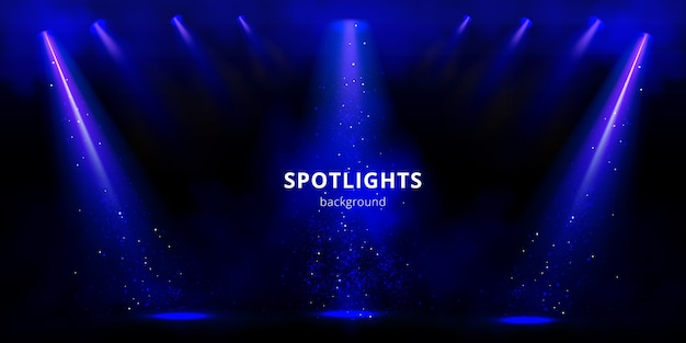Fundo de holofotes, feixes de luz do palco azul com fumaça e brilhos no fundo preto.