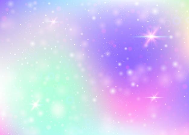 Fundo de holograma com malha de arco-íris. banner do universo fofo nas cores da princesa. pano de fundo gradiente de fantasia. fundo mágico de holograma com brilhos de fadas, estrelas e borrões.