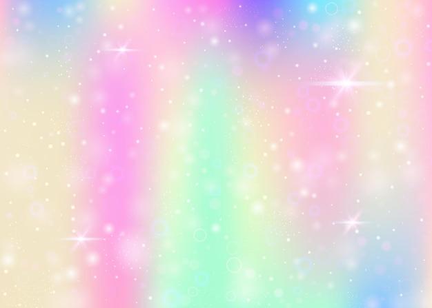Fundo de holograma com malha de arco-íris. banner do universo girlie nas cores da princesa. pano de fundo gradiente de fantasia. fundo de unicórnio de holograma com brilhos de fadas, estrelas e borrões.