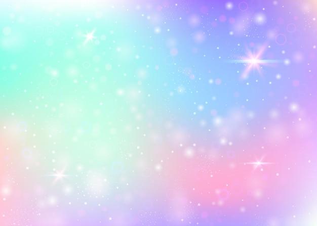 Fundo de holograma com malha de arco-íris. banner do universo girlie nas cores da princesa. pano de fundo gradiente de fantasia. fundo de unicórnio de holograma com brilhos de fadas, estrelas e borrões. Vetor Premium