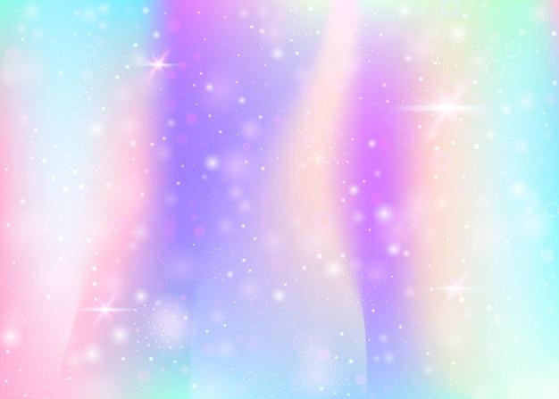 Fundo de holograma com malha de arco-íris. banner do universo líquido nas cores da princesa. pano de fundo gradiente de fantasia. fundo de unicórnio de holograma com brilhos de fadas, estrelas e borrões.