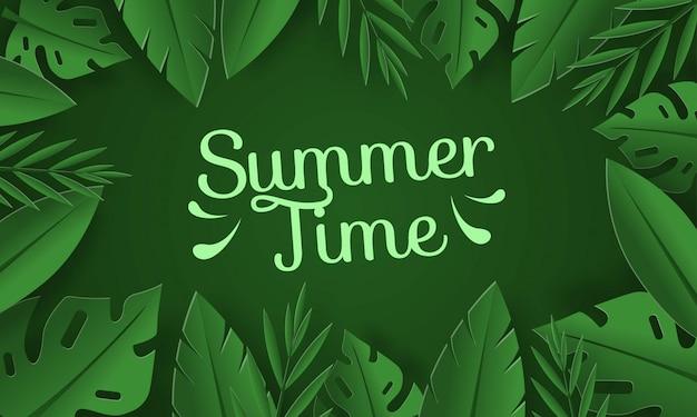 Fundo de horário de verão com folhas tropicais sobre fundo verde