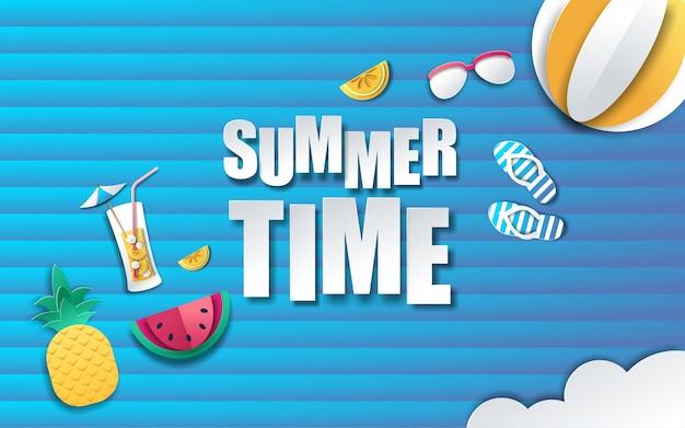 Fundo de horário de verão em estilo de papel vetor premium
