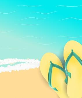 Fundo de horário de verão. ilustração de praia ensolarada