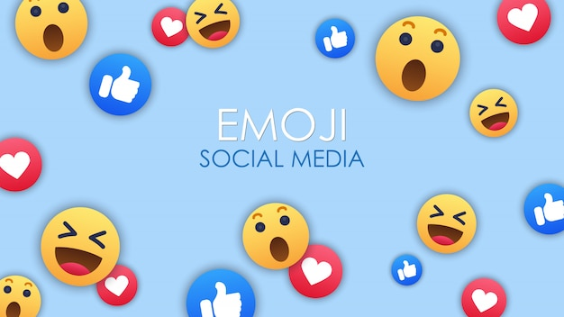 Fundo de ícone de emoji de mídias sociais