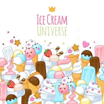 Fundo de ícones coloridos de sorvete doce.