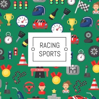Fundo de ícones de corridas de carros plana com lugar para texto