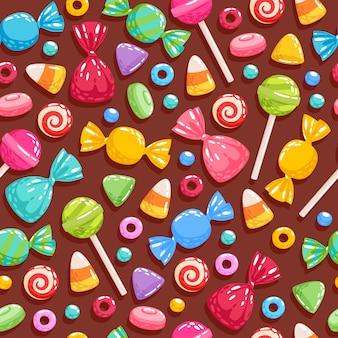Fundo de ícones de doces coloridos - ilustração.
