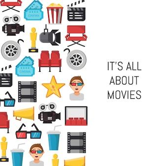 Fundo de ícones do cinema plana com lugar para texto