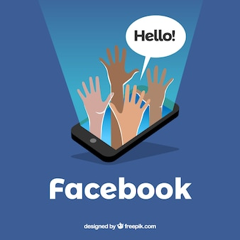 Fundo de ícones do facebook com design plano