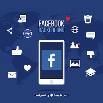 Fundo de ícones do facebook com design plano